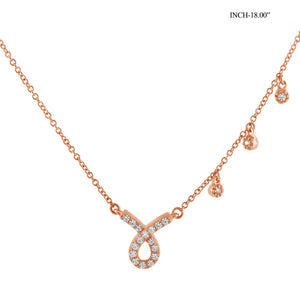 1/4 Ctw White Diamond Rose Gold over Silver Ribbon Shaped Necklace