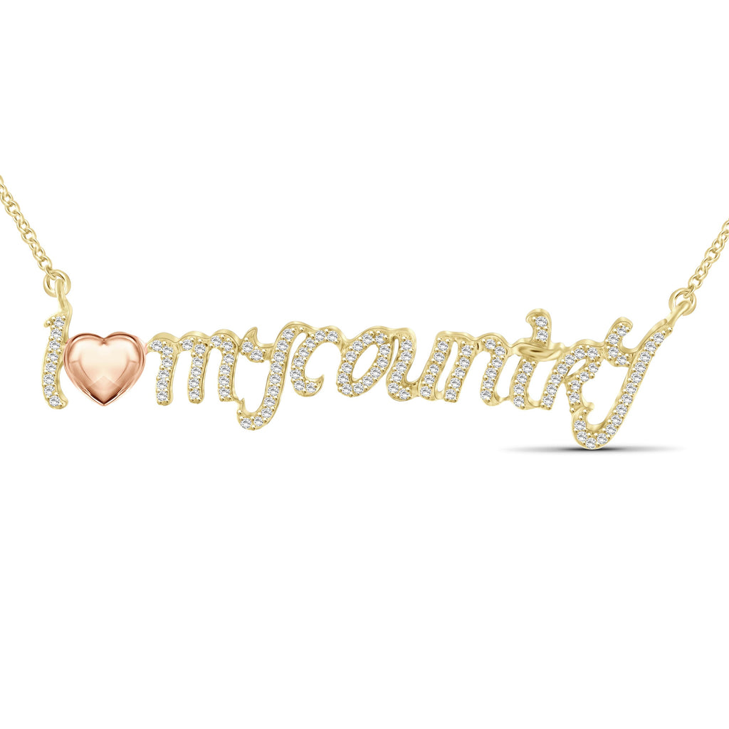 "1/4 Ctw White Diamond Two Tone Sterling Silver ""I Love My Country"" Pendant"