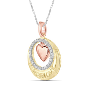 1/7 Carat T.W. White Diamond Three Tone Silver Heart In Circle Pendant