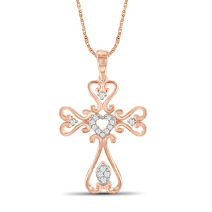 1/7 Carat T.W. White Diamond Rose Gold Over Silver Cross Pendant