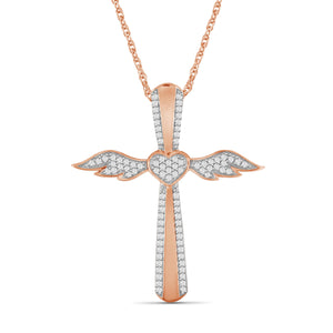 1/4 Ctw White Diamond Angel Cross Pendant in Rose Gold over Silver