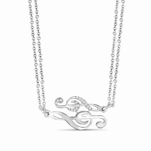 1/20 Ctw White Diamond Sterling Silver Music Note Necaklace - Assorted Colors