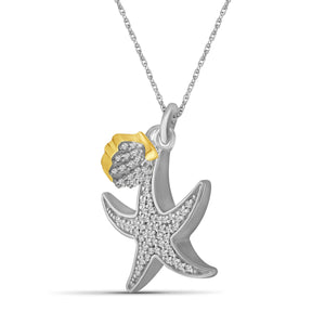 1/5 Carat T.W. White Diamond Two Tone Silver Seashell Starfish Pendant