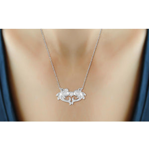 1/10 Ctw White Diamond Sterling Silver Dolphin Pendant