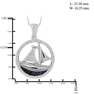 1/4 Carat T.W. Blue And White Diamond Sterling Silver SailBoat Pendant