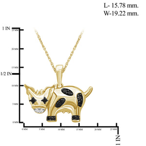 1/10 Ctw Black & White Diamond 14K Gold over Silver Cow Pendant