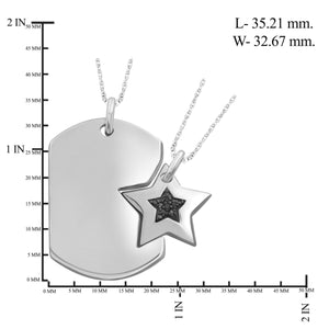 1/20 Carat T.W. Black Diamond Sterling Silver Star Dog Tag Pendant