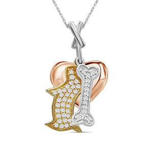 1/3 Ctw White Diamond Tri-Tone Sterling Silver Dog, Bone & Heart Pendant