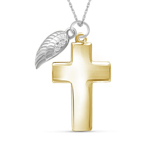 Accent White Diamond Cross with Feather Pendant in Two-Tone Sterling Silver
