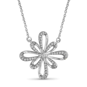 1/4 Carat T.W. White Diamond Sterling Silver Flower Pendant - Assorted Colors