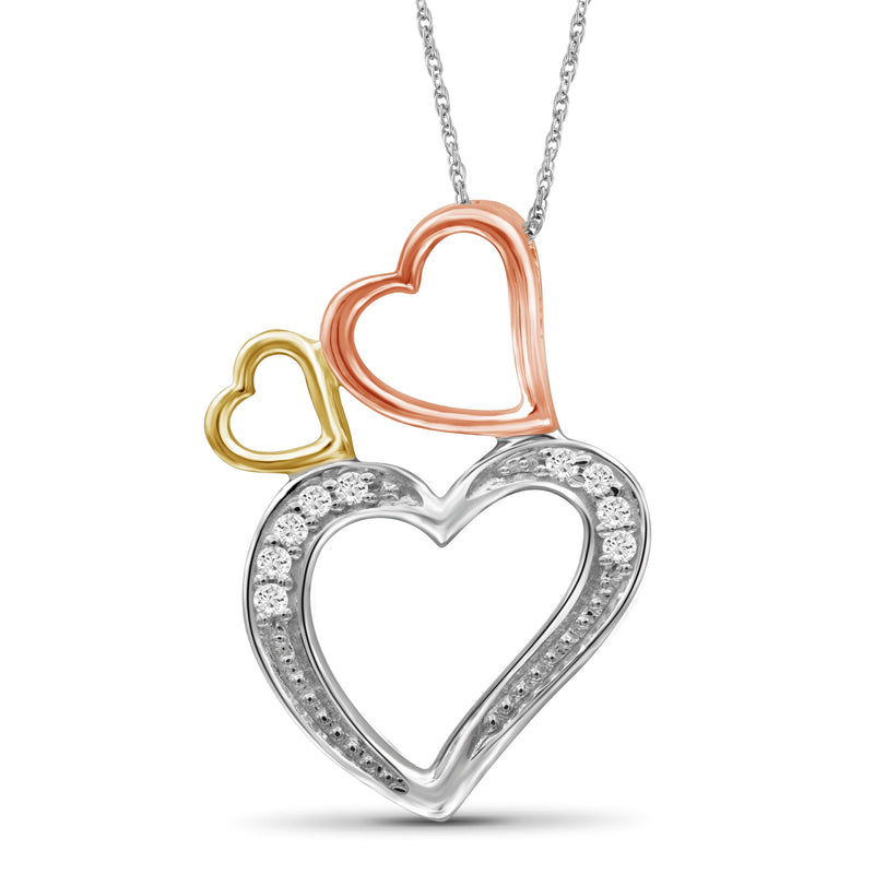 1/20 Carat T.W. White Diamond Three Tone Silver Heart Pendant