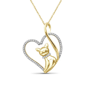 1/7 Ctw White Diamond 14K Gold over Silver Cat Heart Pendant