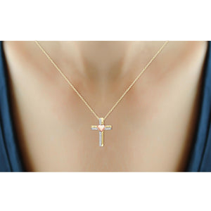 1/10 Ctw White Diamond Heart Cross Pendant in Two-Tone Sterling Silver
