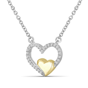 1/7 Carat T.W. White Diamond Two Tone Silver Double Heart Pendant