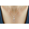 1/7 Ctw White Diamond Angel Pendant in Tri-Tone Sterling Silver