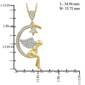 1/5 Ctw White Diamond Angel on Moon Pendant in 14kt Gold over Silver