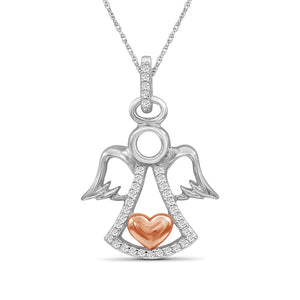 1/10 Ctw White Diamond Angel Heart Pendant in Two-Tone Sterling Silver