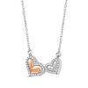 1/10 Ctw White Diamond Double Heart Necklace in Two-Tone Sterling Silver
