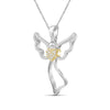 1/7 Ctw White Diamond Angel Pendant in Two-Tone Sterling Silver