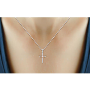 1/20 Ctw White Diamond Cross Pendant in Two-Tone Sterling Silver