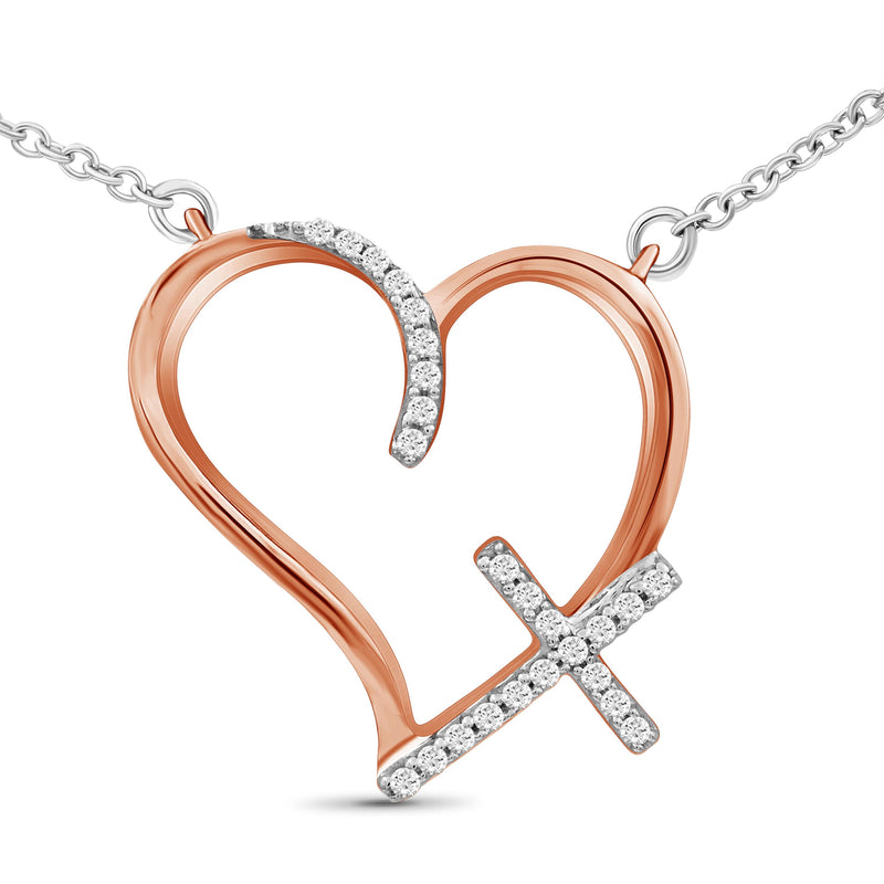 1/10 Ctw White Diamond Open Heart Cross Pendant in Two-Tone Sterling Silver