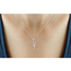 1/10 Ctw White Diamond Angel Necklace in Two Tone Sterling Silver