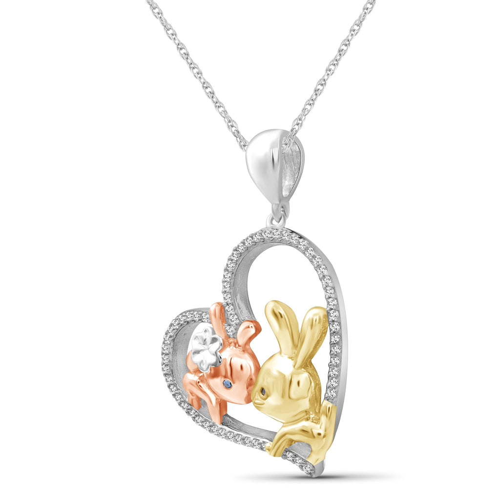 1/7 Ctw Multi Color Diamond Tri-Tone Sterling Silver Bunny Baby & Mom Heart Pendant