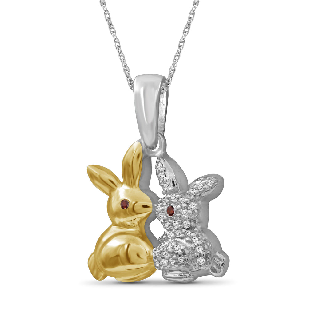 1/10 Ctw Red & White Diamond Two-Tone Sterling Silver Bunny Pendant