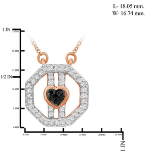 1/7 Carat T.W. Black And White Diamond Rose Gold Over Silver Octagon Pendant