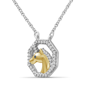 1/7 Carat T.W. Blue And White Diamond Two Tone Silver Unicorn Octagon Pendant