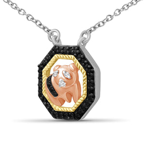 1/10 Carat T.W. Black And White Diamond Three Tone Silver Panda Octagon Pendant