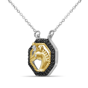 1/10 Carat T.W. Black And White Diamond Two Tone Silver Unicorn Octagon Pendant
