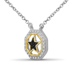 1/10 Carat T.W. Black And White Diamond Two Tone Silver Star Octagon Pendant