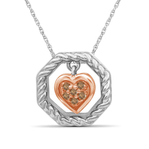 1/20 Carat T.W. Champagne Diamond Two Tone Sterling Silver Heart Octagon Pendant