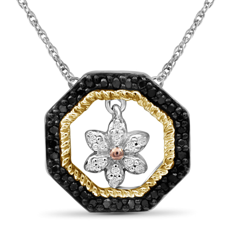 1/7 Carat T.W. Black And White Diamond Three Tone Silver Flower Octagon Pendant