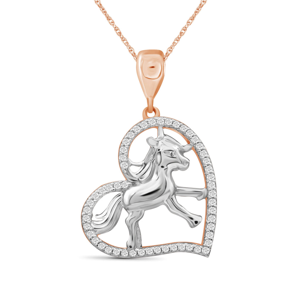 1/7 Ctw White Diamond Two-Tone Sterling Silver Horse Pendant