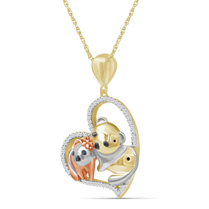 1/7 Ctw Multi Color Diamond Tri-Tone Sterling Silver Panda Heart Pendant
