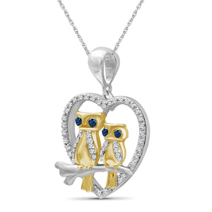 1/7 Ctw Blue & White Diamond Two-Tone Sterling Silver Owl Heart Pendant