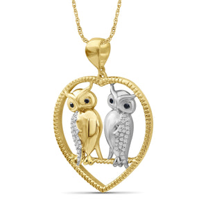 1/7 Ctw Multi Color Diamond Two Tone Sterling Silver Owl Heart Pendant