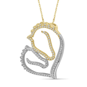 1/3 Ctw White Diamond Two-Tone Sterling Silver Horse Pendant