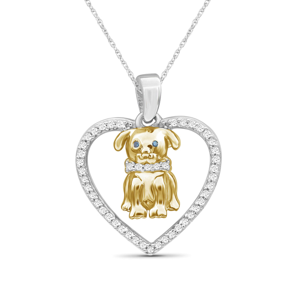 1/10 Ctw Blue & White Diamond Two-Tone Sterling Silver Dog & Heart Pendant