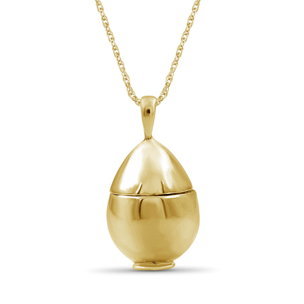 1/20 Ctw Yellow & Blue Diamond 14K Gold over Silver Egg Pendant