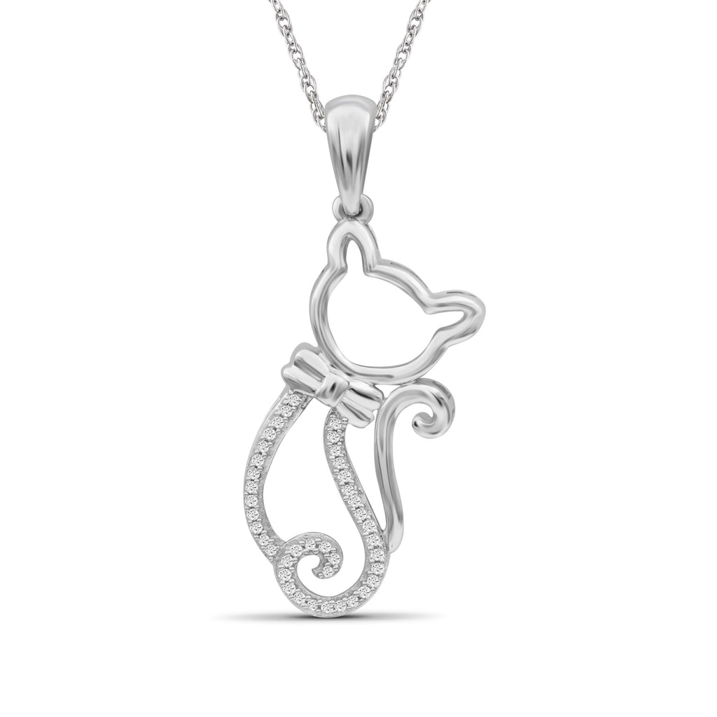 1/10 Ctw White Diamond Sterling Silver Kitty Pendant