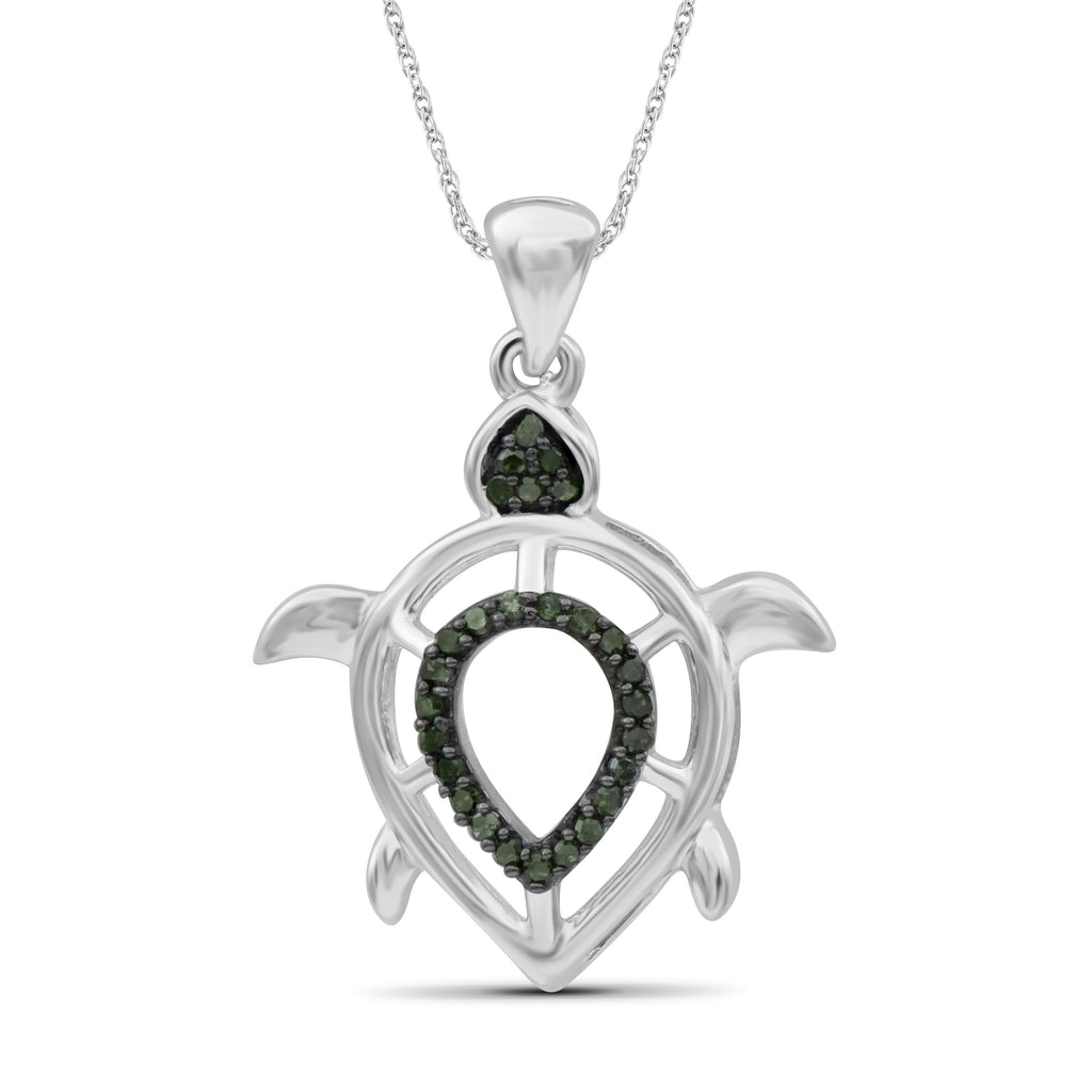 1/10 Ctw Green Diamond Sterling Silver Turtle Pendant