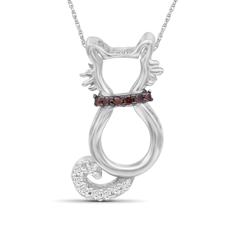 1/20 Ctw Red & White Diamond Sterling Silver Cat Pendant