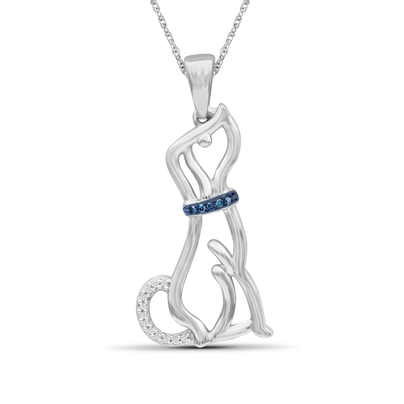1/20 Ctw Blue & White Diamond Sterling Silver Dog Pendant