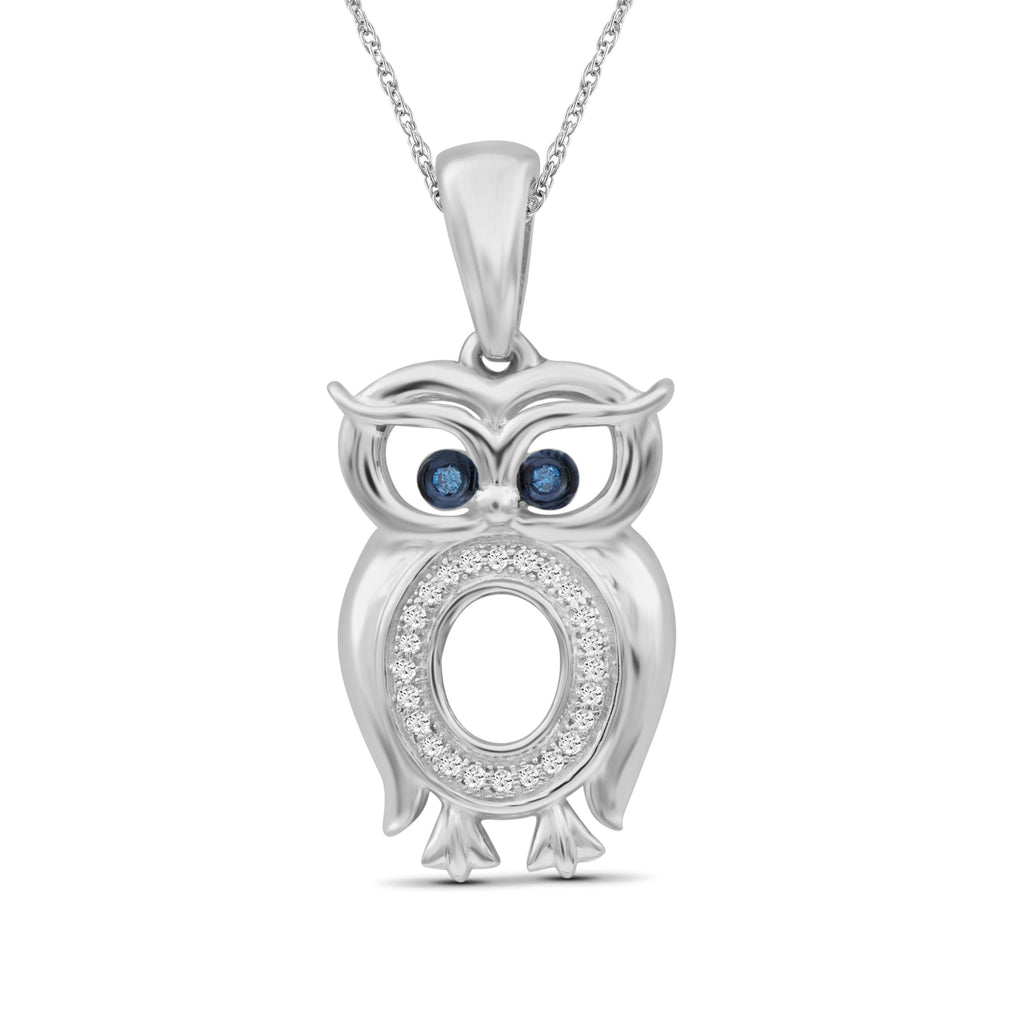 1/10 Ctw Blue & White Diamond Sterling Silver Owl Pendant
