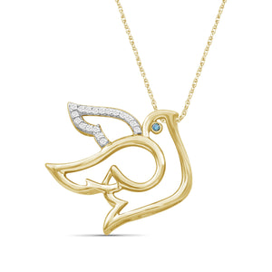 1/20 Ctw Blue & White Diamond 14K Gold over Silver Dove Pendant