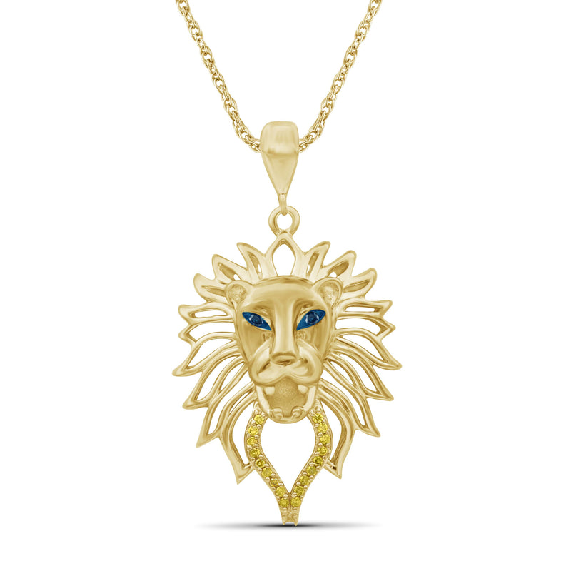 1/20 Ctw Yellow & Blue Diamond 14K Gold over Silver Lion Face Pendant