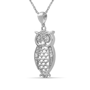 Accent White Diamond Sterling Silver Owl Pendant